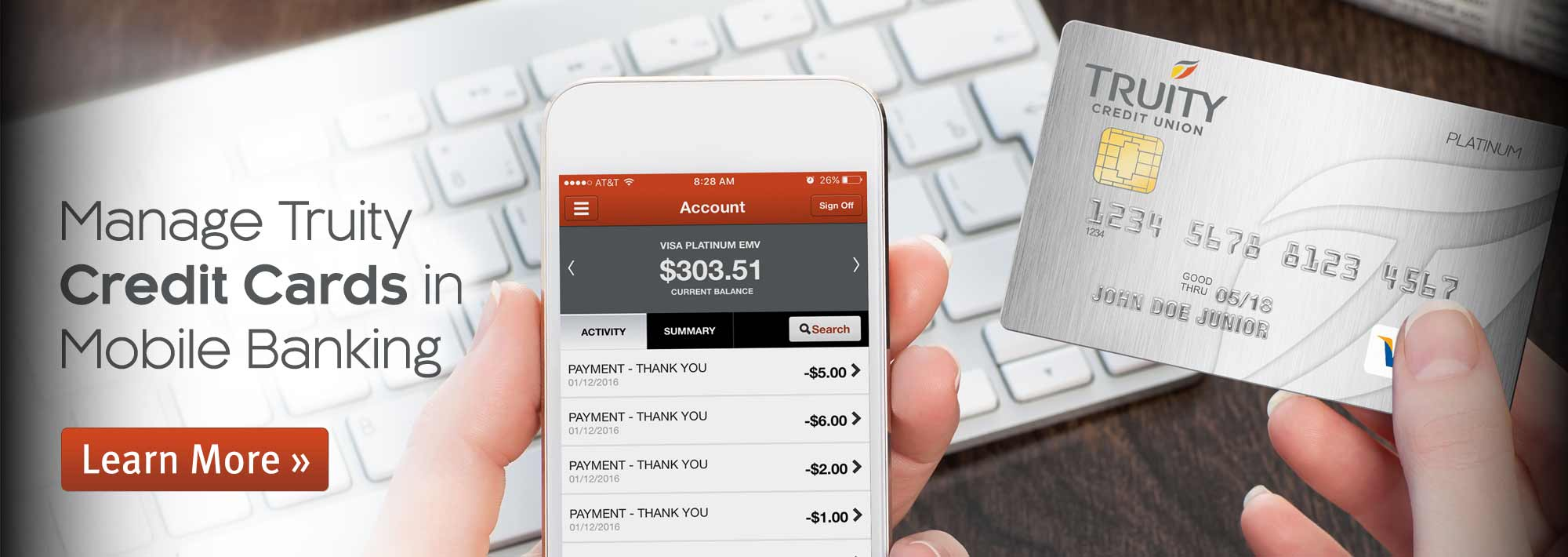 Manage Truity Credit Cards in Mobile Banking